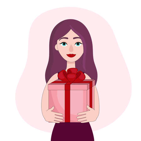Beautiful young woman holding a gift box. Congratulations on Valentines day, birthday or other holiday. Linear vector illustration Çizim