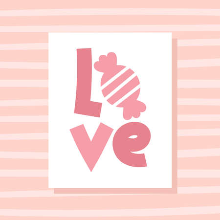 White paper with lettering. Valentines day decor and greetings. Postcard for a loved one.Flat vector stock illustration. Pink background