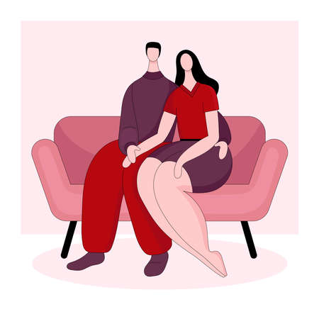 Young brunette man and woman sitting on a couch. Date, hug, love. The view from the back.Vector linear illustration