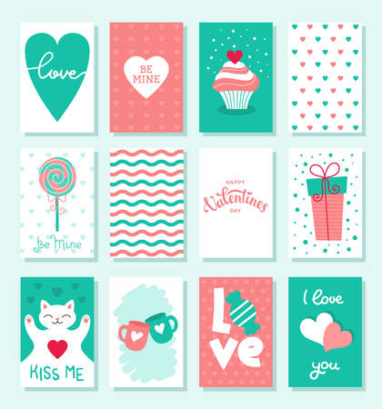 Set of cute cards for Valentines day. Decor for the holiday. Flat vector stock illustration.White background Çizim