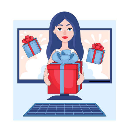 Winning the prize draw. Beautiful young girl gives gift box from computer screen.Flat linear stock vector illustration