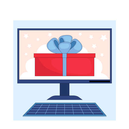 Winning the prize draw. Gift box on the computer screen.Flat linear stock vector illustration