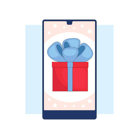 Winning the prize draw. Gift box on the smartphone screen.Flat linear stock vector illustration Çizim