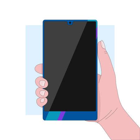 Hand holding a blue glossy smartphone. Modern gadgets. Linear flat vector illustration Çizim
