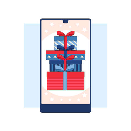 Winning the prize draw. Gift boxes on the smartphone screen.Flat linear stock vector illustration Çizim