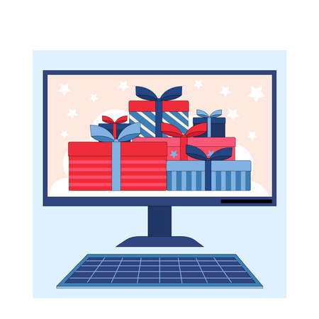 Winning the prize draw. Gift boxes on the computer screen.Flat linear stock vector illustration