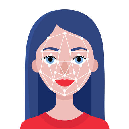 Face identification of young woman.Biometrics and facial recognition.White background. Vector flat stock illustration