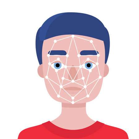 Face identification of young man.Biometrics and facial recognition.White background. Vector flat stock illustration