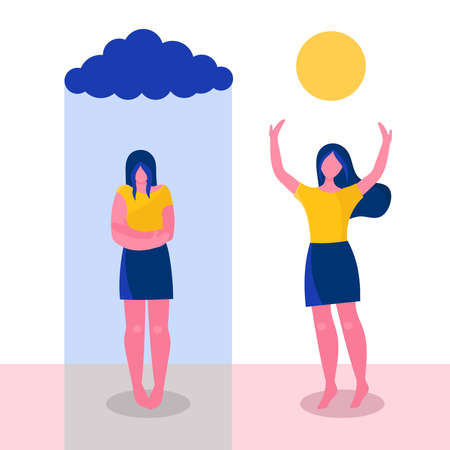 a young woman before and after psychotherapy.Psychological problems, sadness, apathy, negative emotions.Increase self-esteem, help from a psychologist.Flat vector illustration Çizim