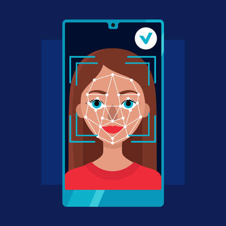 Face identification of young woman.Biometrics and facial recognition on smartphone.White background. Vector flat stock illustration Çizim