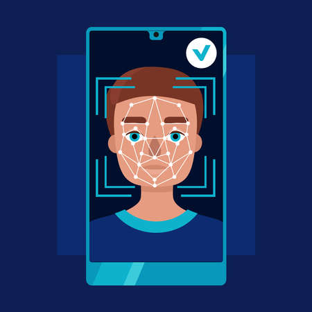 Face identification of young man.Biometrics and facial recognition on smartphone.White background. Vector flat stock illustration