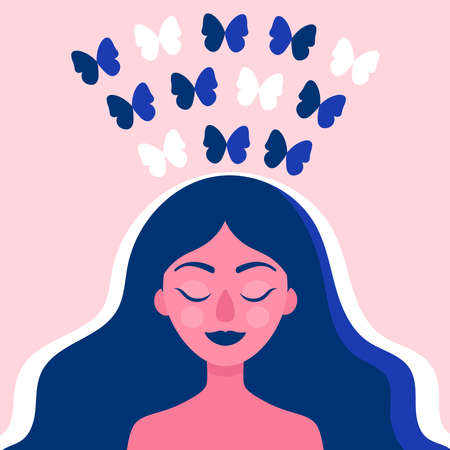 Female head with butterflies flying from the head, happiness, relaxation, liberation from problems.Creative, ideas.Psychological concept.Psychotherapy.Flat vector illustration