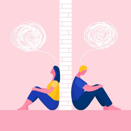 Ein Mann und eine Frau in einem Streit. Das Paar sitzt Rücken an Rücken. Probleme in Beziehungen, Konflikte. Mann und Frau uneins. Wand zwischen ihnen. Flache Vektorillustration
