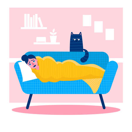 A sad young woman is lying on the sofa covered with a blanket.Depression, melancholy, sadness.Psychological and emotional problems.The psychological concept.Flat vector