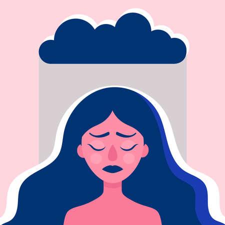 La tête d'une jeune femme sous la pluie. Femme triste avec des problèmes psychologiques et émotionnels. Le concept psychologique de la thérapie. Stress, anxiété, tristesse. Illustration vectorielle plane