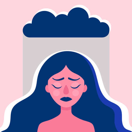The head of a young woman in the rain.Sad woman with psychological and emotional problems.The psychological concept of therapy.Stress, anxiety, sadness.Flat vector illustration