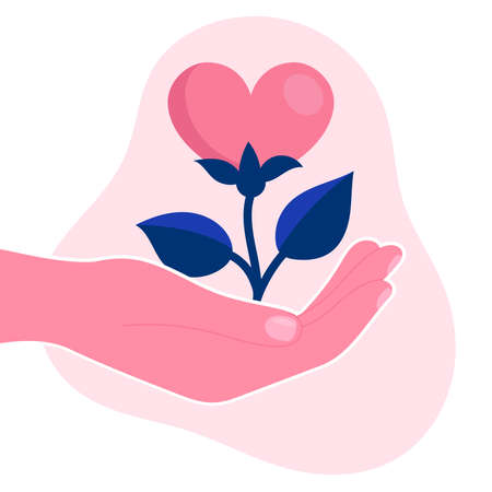 Human hand hold a flower in the form of a heart.Psychological support, help, psychotherapy.Emotional problem.Concept.Flat vector illustration