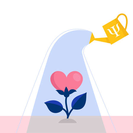 A watering can waters a flower in the form of a heart.Concept of psychological assistance.Healing emotional and mental injuries.Help and support of a psychologist.Flat vector illustration
