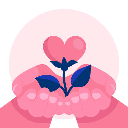 Human hands hold a flower in the form of a heart.Psychological support, help, psychotherapy.Emotional problem.Concept.Flat vector illustration Çizim