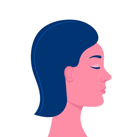 Female head in profile on a white background.Young beautiful girl with closed eyes.Fashion, youth, healthy skin, hair, hairstyle.Flat vector stock illustration. Isolated