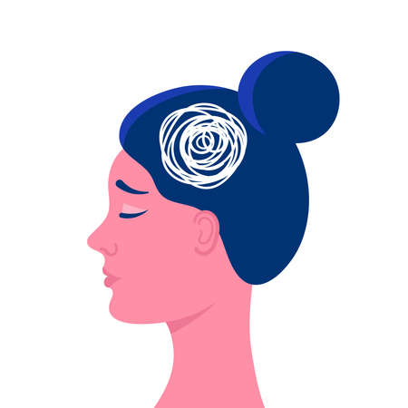 A womans head in profile.Anxious thoughts, doubts, feelings, sadness.Psychological problem.Flat vector stock illustration Vecteurs