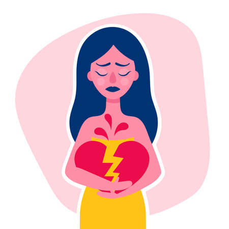 A sad young woman holds a broken heart in her hands.Divorce, breakup, unrequited love.Flat vector illustration for your article Çizim