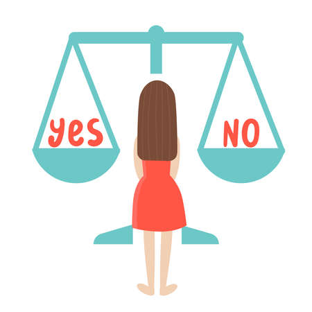 A young woman is thinking about what decision to make. The concept of choice.There are two words on the scales.Yes and no.Doubts, worries.Flat vector illustration on white background.