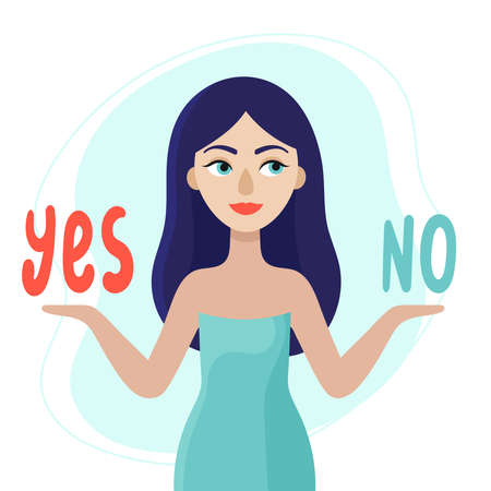 A young woman is thinking about what decision to make. The concept of choice.Yes or no.Doubts, worries.Flat vector illustration on white background. Vektorové ilustrace