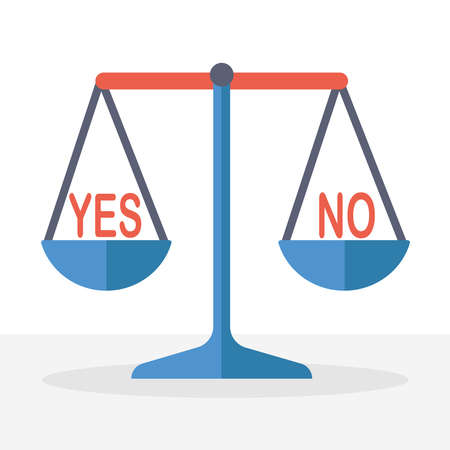Table scales with weights Yes and no.The concept of choice.Doubts, worries.The choice of the future.Flat vector stock illustration.Isolate on a white background