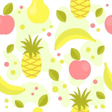 Summer seamless pattern with fruit.Banana, Apple, pear, pineapple.Health, vitamins, diet.Bali,a tropical.Summer fun background for packaging design or background for your site.Flat vector illustration Çizim