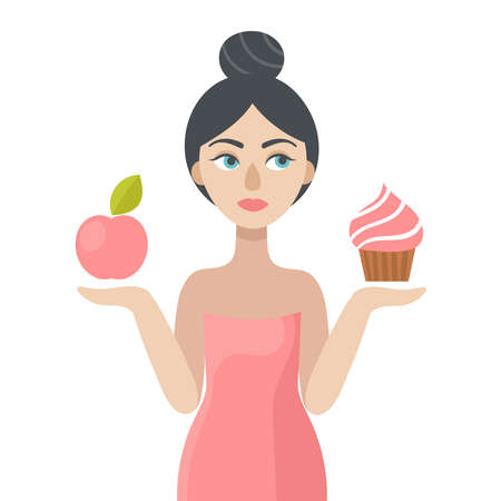 A young beautiful woman holding an Apple and a cake.The concept of choice.Beauty and health, beautiful slim body, diet.Overweight.Flat vector illustration.Isolated on a white background Çizim