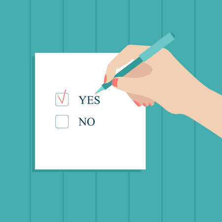 A human hand holds a pen and puts a check mark on the form.Choice, vote, Yes or no.Flat vector stock illustration on a blue background