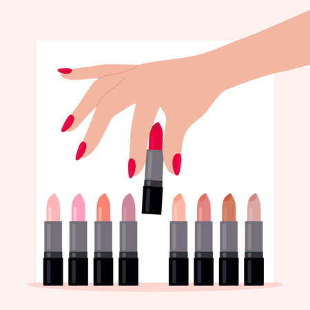 A womans hand chooses a red lipstick.The concept of choice, beauty, and sexuality.To be bright and bold.A set of lipsticks in different colors.Cosmetics, make-up, salon.Flat vector illustration