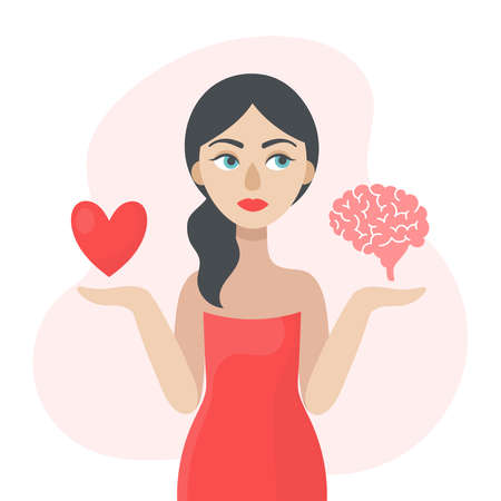 A young woman is thinking about what decision to make. The concept of choice.The heart or the brain.Doubts, worries.Flat vector illustration on white background.