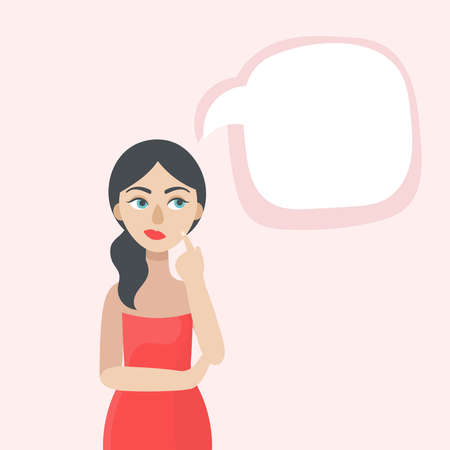 A young beautiful woman thinks.The speech bubble.Space for your text.Doubts, experiences, choices.Flat vector illustration on a pink background Illustration