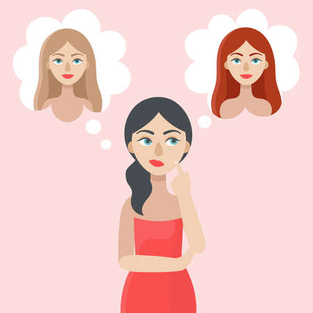 A young brunette woman doubts.The girl thinks about the color of her hair.Choice, decision.Blonde, brown-haired, red-haired.Flat vector illustration on a light pink background Vektoros illusztráció