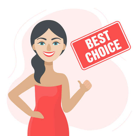 A young brunette woman smiles and gives a thumbs up.Best choice.Best deal.Discounts, sales, product liquidation, online shopping.Flat vector illustration