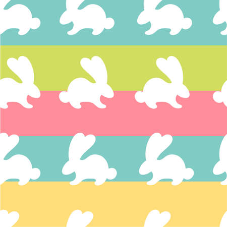 Easter seamless pattern with white fun bunnies.Easter decor, spring.Texture for packaging, paper bags, stationery, notebooks.Flat vector illustration on a multicolored striped background Çizim