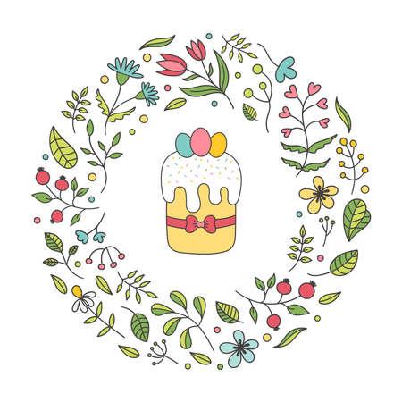 Floral spring frame.Easter cake, eggs, postcard. Decor plants, flowers, twigs, leaves, Tulip, chamomile, cornflower, rose hip.Vector Doodle illustration on a white background.