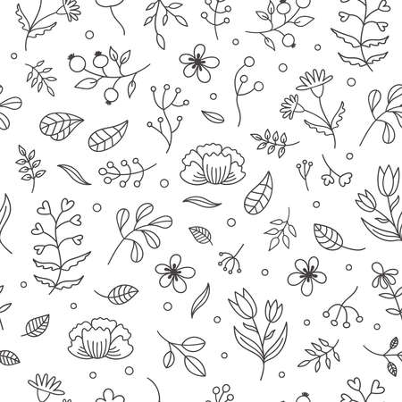 Floral spring seamless pattern.Decor plants, flowers, twigs, leaves, Tulip, chamomile, cornflower, rose hip.Cute vector Doodle illustration on white background