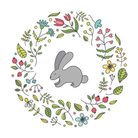 Floral spring frame.Easter Bunny, rabbit. postcard. Decor plants, flowers, twigs, leaves, Tulip, chamomile, cornflower, rose hip.Vector Doodle illustration on a white background.
