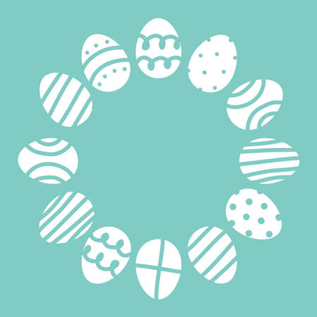 Cute Easter frame made of decorated eggs. Festive spring decor, design of posters,cards.Flat vector illustration on a blue background