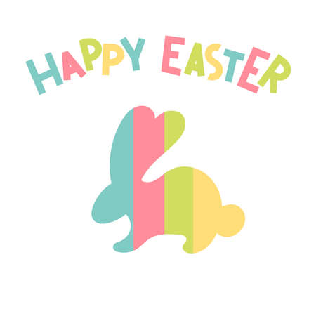 Cute Easter Bunny.Lettering.happy Easter.Festive spring decor, design of posters,cards.Flat vector illustration on a multicolored rainbow background