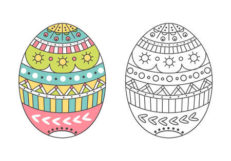 Colorful Easter egg with Doodle patterns.Egg for coloring.Spring holiday decor.Vector illustration on a white background
