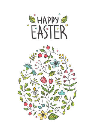 Beautiful Easter egg made of plants, flowers, twigs, leaves.Spring holiday decor for postcards.Lettering.Doodle vector illustration on a white background Çizim