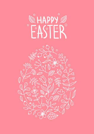 Beautiful Easter egg made of plants, flowers, twigs, leaves.Spring holiday decor for postcards.Lettering.vector illustration on a pink background