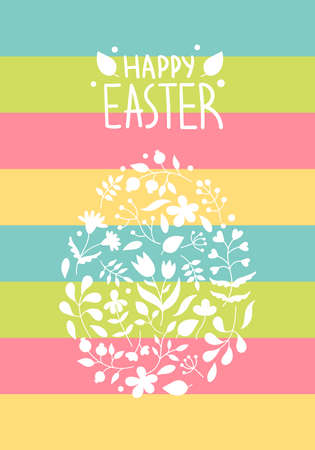 Beautiful Easter egg made of plants, flowers, twigs, leaves.Spring holiday decor for postcards.Lettering.vector illustration on a Multicolored rainbow background