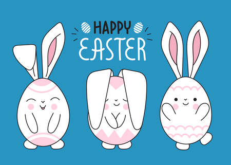 Cute pretty funny Easter bunnies.Design of the Easter holiday.Lettering.Rabbits look like decorated eggs with ears.Kawaii.Doodle vector on a blue background Çizim