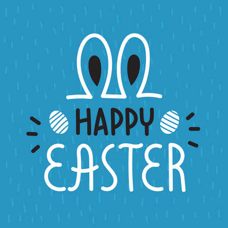 Cute Easter lettering with rabbit ears. happy Easter.Design for your holiday cards.Spring mood. Vector illustration on a blue background