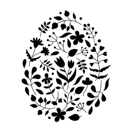 Floral patterns in the shape of an Easter egg.Plant elements, leaves, twigs, flowers.Black silhouettes of spring plants.Design for holiday cards.Stencil, template.Doodle vector on white background Çizim